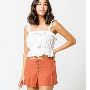 SKY AND SPARROW Button Soft Rust Womens Shorts